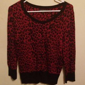Red leopard print express cardigan pin up rock L